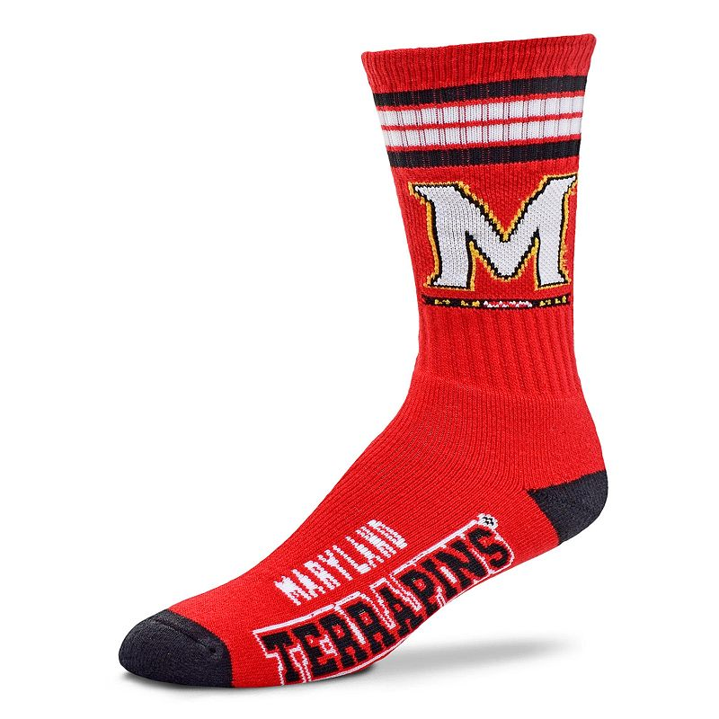 Adult For Bare Feet Maryland Terrapins Deuce Striped Crew Socks, Men's, Size: Large, Team