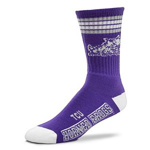 Adult For Bare Feet TCU Horned Frogs Deuce Striped Crew Socks
