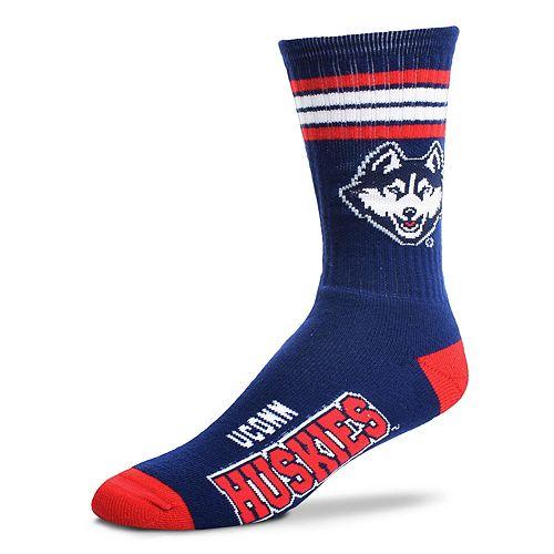Adult For Bare Feet UConn Huskies Deuce Striped Crew Socks
