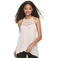Juniors' Candie's® Sharkbite Hem Lace Tank