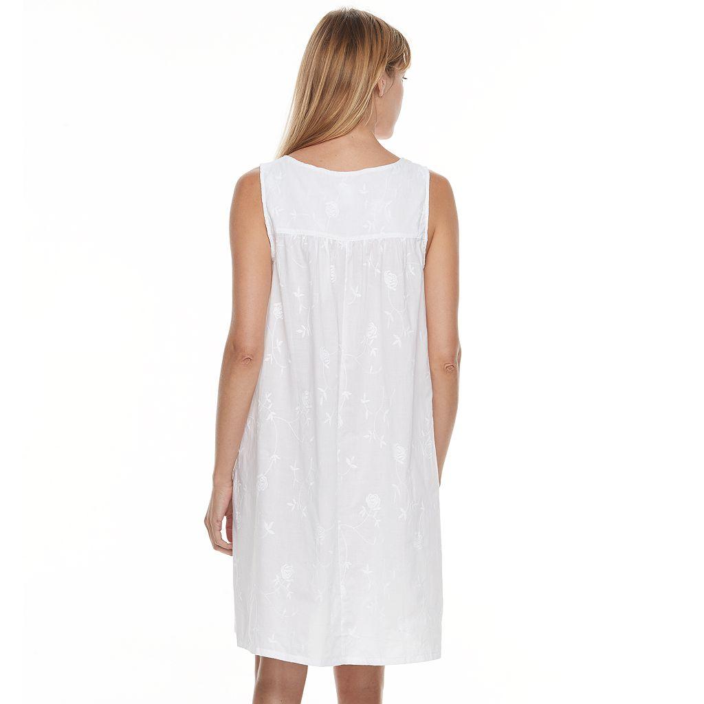 Women's Croft & Barrow® Pajamas: Woven Sleeveless Short Nightgown