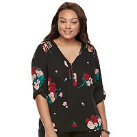 Juniors' Plus Size Candie's® Strappy Shoulder Top