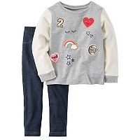 Girls 4-8 Carter's Patched Pullover Sweatshirt & Jeggings Set