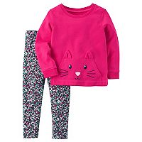 Girls 4-8 Carter's Cat Face Pullover Sweatshirt & Leggings Set