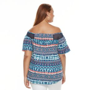 Plus Size French Laundry Printed Off-the-Shoulder Top