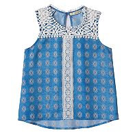Girls 7-16 Self Esteem Crochet Lace Trim Tank Top