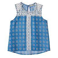 Girls 7-16 Self Esteem Crochet Lace Trim Tank Top