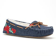 SO® Women's Embroidered Rose Denim Moccasin Slippers