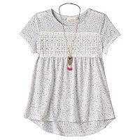 Girls 7-16 Self Esteem Nep Crochet Top with Necklace