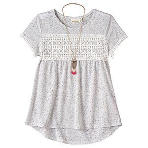 Girls 7-16 Self Esteem Nep Crochet Top with Necklace
