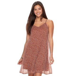 Juniors' Mudd® Printed Chiffon Slip Dress