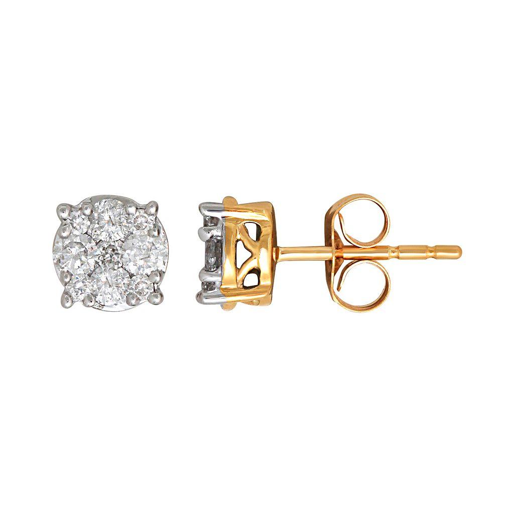 10k Gold 1/2 Carat T.W. Diamond Cluster Stud Earrings