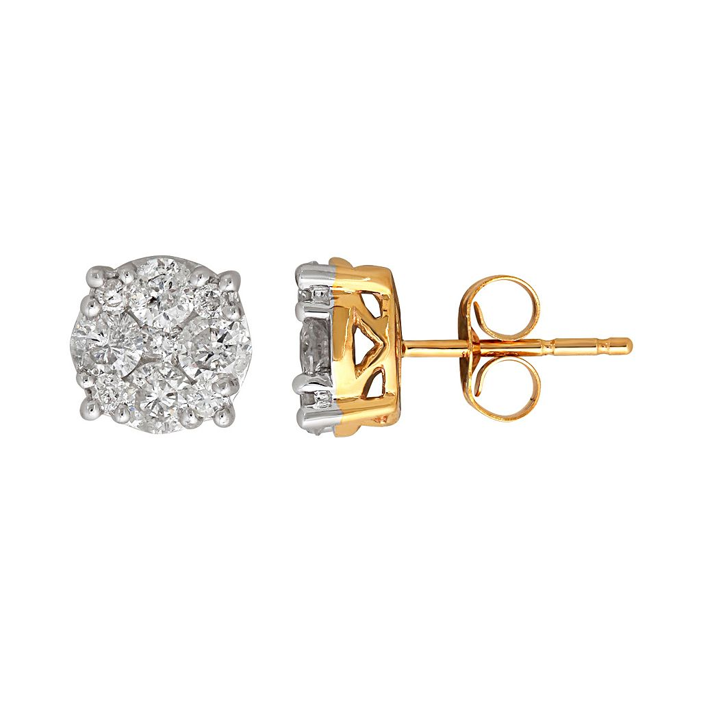 10k Gold 1 Carat T.W. Diamond Cluster Stud Earrings