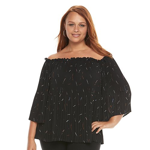 Plus Size Apt. 9® Pleated Off-the-Shoulder Top