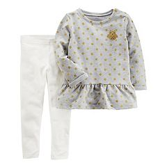 Girls 4-8 Carter's Dotted Owl Patch Tunic Top & Leggings Set