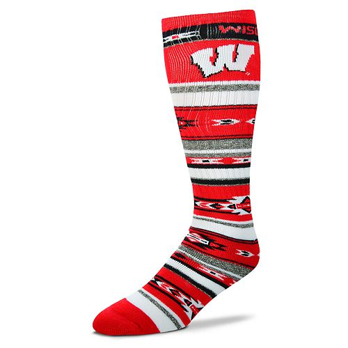 Adult For Bare Feet Wisconsin Badgers Tailgater Crew Socks