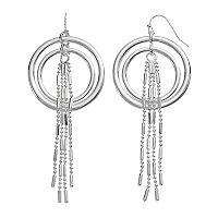 Jennifer Lopez Fringe Nickel Free Double Drop Hoop Earrings