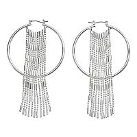 Jennifer Lopez Fringe Nickel Free Hoop Earrings