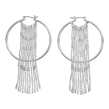 Jennifer Lopez Fringe Nickel Free Hoop Earrings