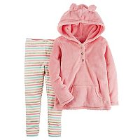 Girls 4-8 Carter's Sherpa Hoodie & Striped Leggings Set