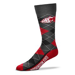 Adult For Bare Feet Washington State Cougars Argyle Line Up Crew Socks