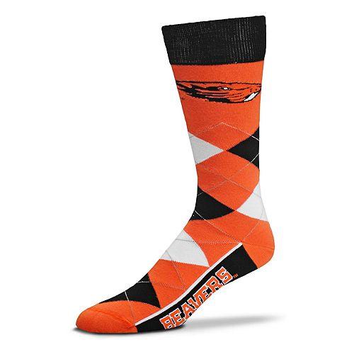 Adult For Bare Feet Oregon State Beavers Argyle Line Up Crew Socks