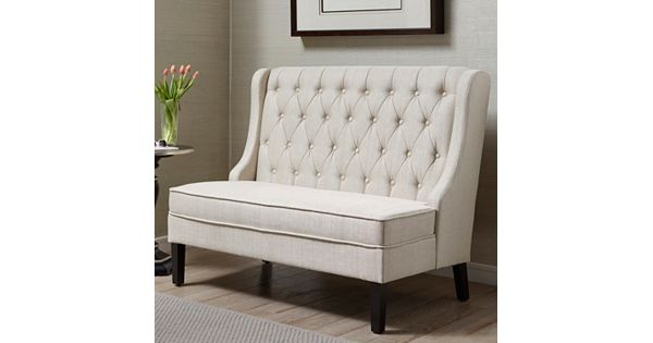 French Tufted Upholstered Dining Bench Banquette: Pulaski Upholstered Banquette Bench