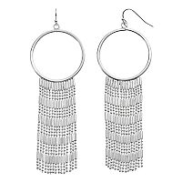 Jennifer Lopez Fringe Nickel Free Drop Hoop Earrings