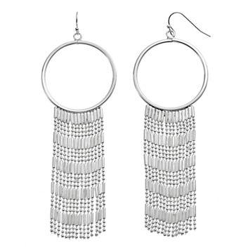 Jennifer Lopez Fringe Nickel Free Drop Hoop Earrings