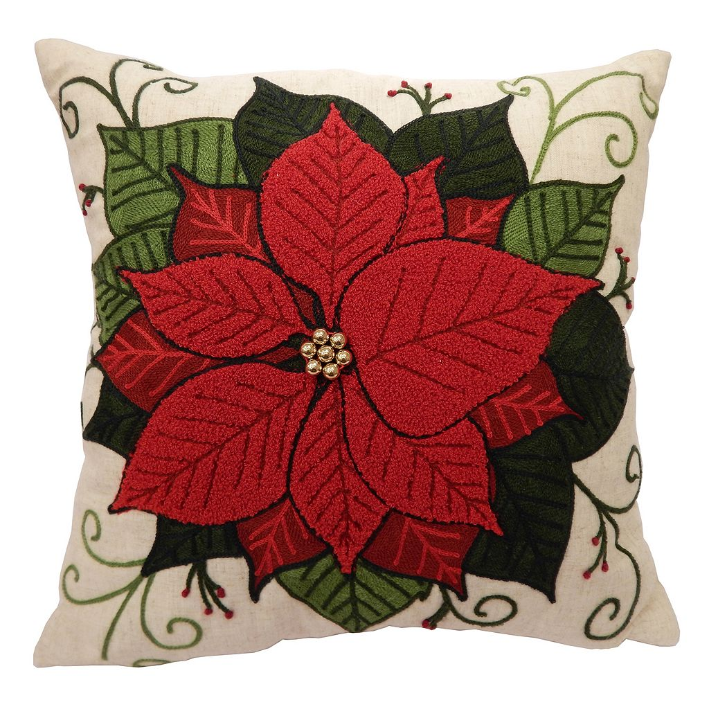 St. Nicholas Square® Boucle Poinsettia Throw Pillow