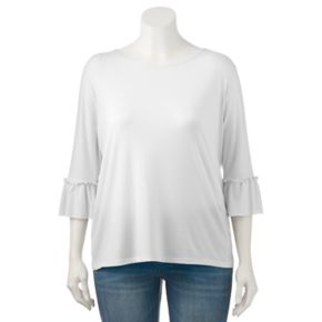 Juniors' Plus Size SO® Solid Bell Sleeve Tee