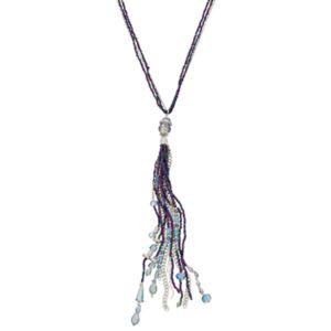 Purple Seed Bead Long Tassel Multi Strand Necklace