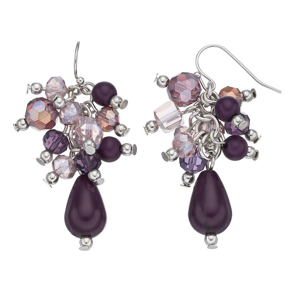 Purple Beaded Cluster Teardrop Earrings