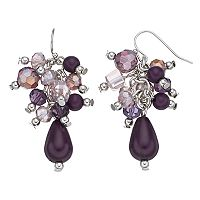 Purple Beaded Cluster Teardrop Earrings