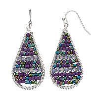 Purple Threaded Teardrop Earrings