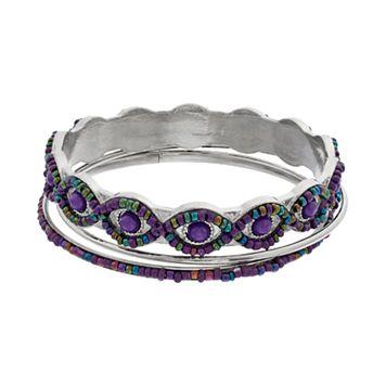 Purple Seed Bead Bangle Bracelet Set