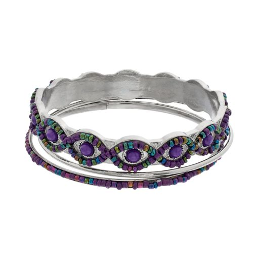Purple Seed Bead Bangle Bracelet Set