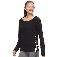 Juniors' SO® Perfectly Soft Lace-Up Sweatshirt