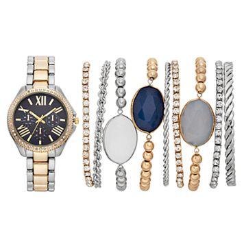 Women's Crystal Two Tone Watch & Bracelet Set