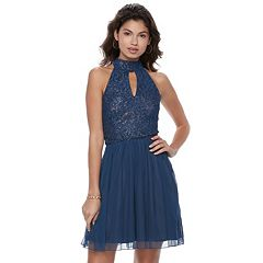Juniors' Speechless Lace Halter Prom Dress
