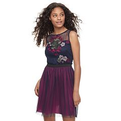 Juniors' Speechless Embroidered Mesh Skater Dress