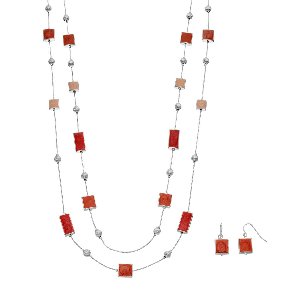 Red Marbled Geometric Double Strand Necklace & Drop Earring Set