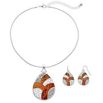 Brown Filigree Teardrop Pendant Necklace & Earring Set