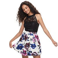 Juniors' Speechless Sequin Floral 2-Piece Dress