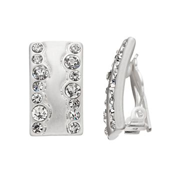 Dana Buchman Wavy Simulated Crystal Nickel Free Clip On Bar Earrings