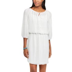 Women's Chaps Checkered Crepe Blouson Dress