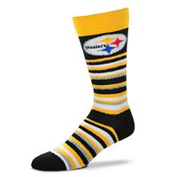 Adult For Bare Feet Pittsburgh Steelers Muchas Rayas Crew Socks