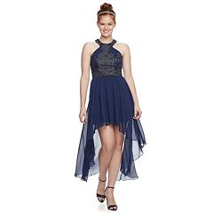 Juniors' Speechless Embellished High-Low Halter Dress