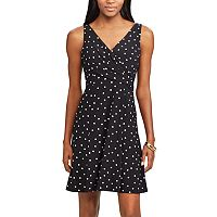 Women's Chaps Polka-Dot Fit & Flare Dress