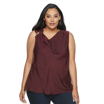 Plus Size Jennifer Lopez Lace-Up Shoulder Tank
